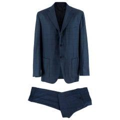 Kiton Napoli Navy Check Wool 2pc Suit - Size XXL - 54