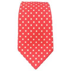 KITON Pink & White Polka Dot Print Silk Tie