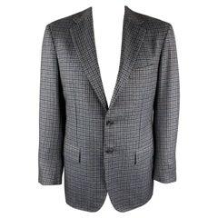 KITON Size 42 Regular Blue & Navy Plaid Cashmere Notch Lapel Sport Coat