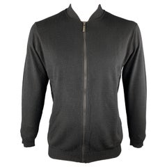 KITON Size L Black Cashmere / Silk Zip Up Textured Cardigan Sweater