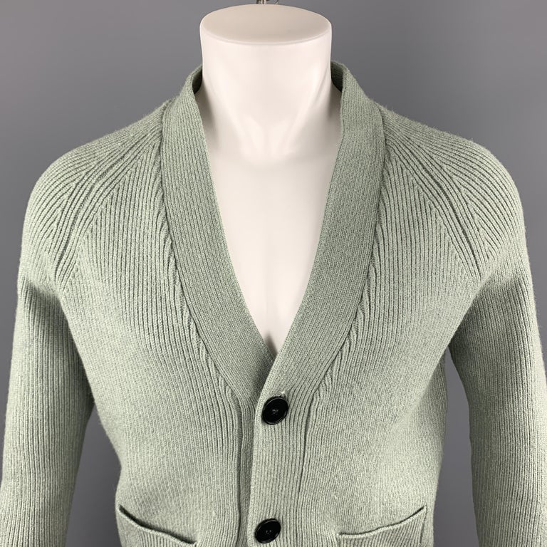 KITON cardigan sweater comes in a solid green knitted cashmere / silk material, with a V-neck, raglan sleeves, two buttons at closure, and ribbed cuffs and hem. Made in Italy.   New With Tags. Marked: IT 52 / US L  Measurements:  Shoulder: 17 in.