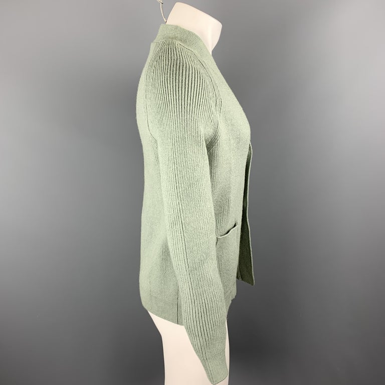 Gray KITON Size L Green Cashmere / Silk V-neck Patch Pockets Buttoned Cardigan For Sale