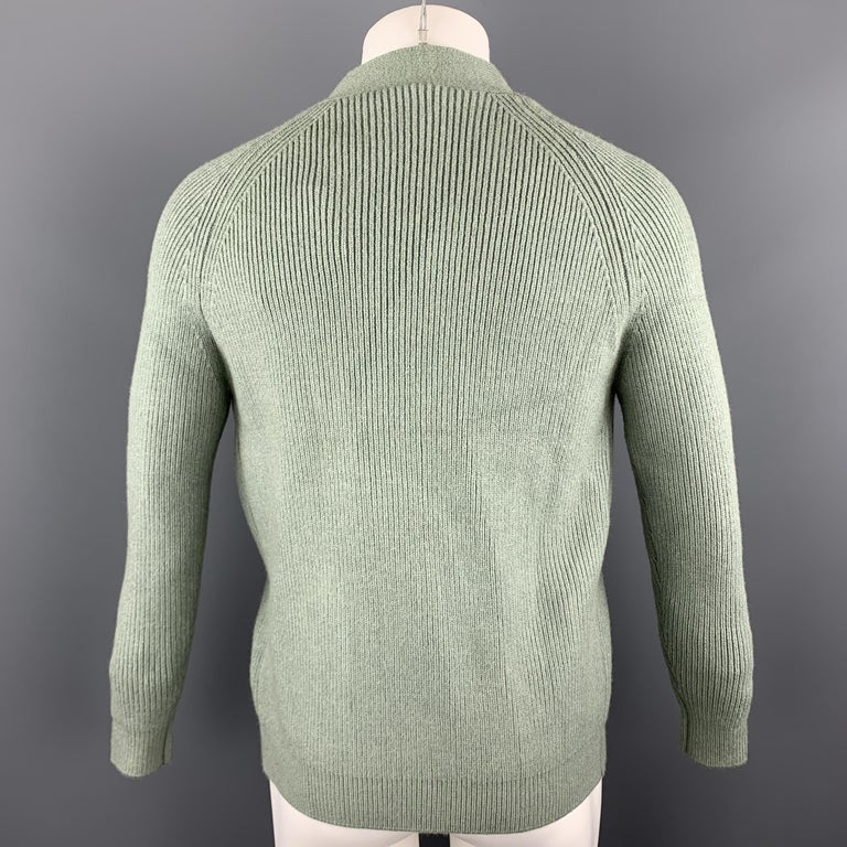 KITON Size L Green Cashmere / Silk V-neck Patch Pockets Buttoned Cardigan In New Condition For Sale In San Francisco, CA