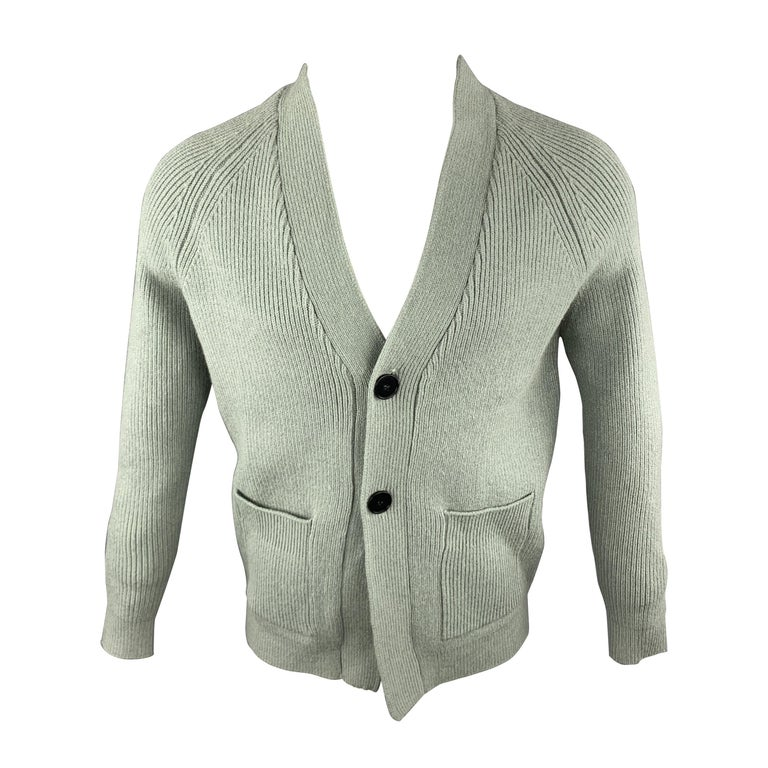 KITON Size L Green Cashmere / Silk V-neck Patch Pockets Buttoned Cardigan For Sale