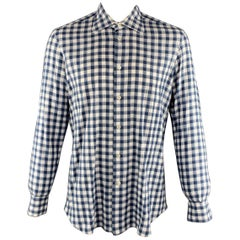 KITON Size L Navy & White Checkered Cotton Button Up Long Sleeve Shirt