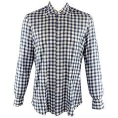 KITON Size L Navy & White Checkered Cotton Button Up Long Sleeve Shirt