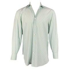 KITON Size M Green & Purple Stripe Cotton Button Up Long Sleeve Shirt