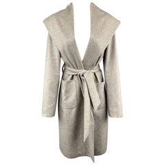 KITON Size M Light Gray Cashmere Wide Collar Robe Coat
