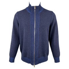 KITON Size XL Blue Cashmere Full Zip High Collar Sweater
