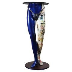 Kitsch Blue Mannequin Legs Tall Drinks Table, 20th Century
