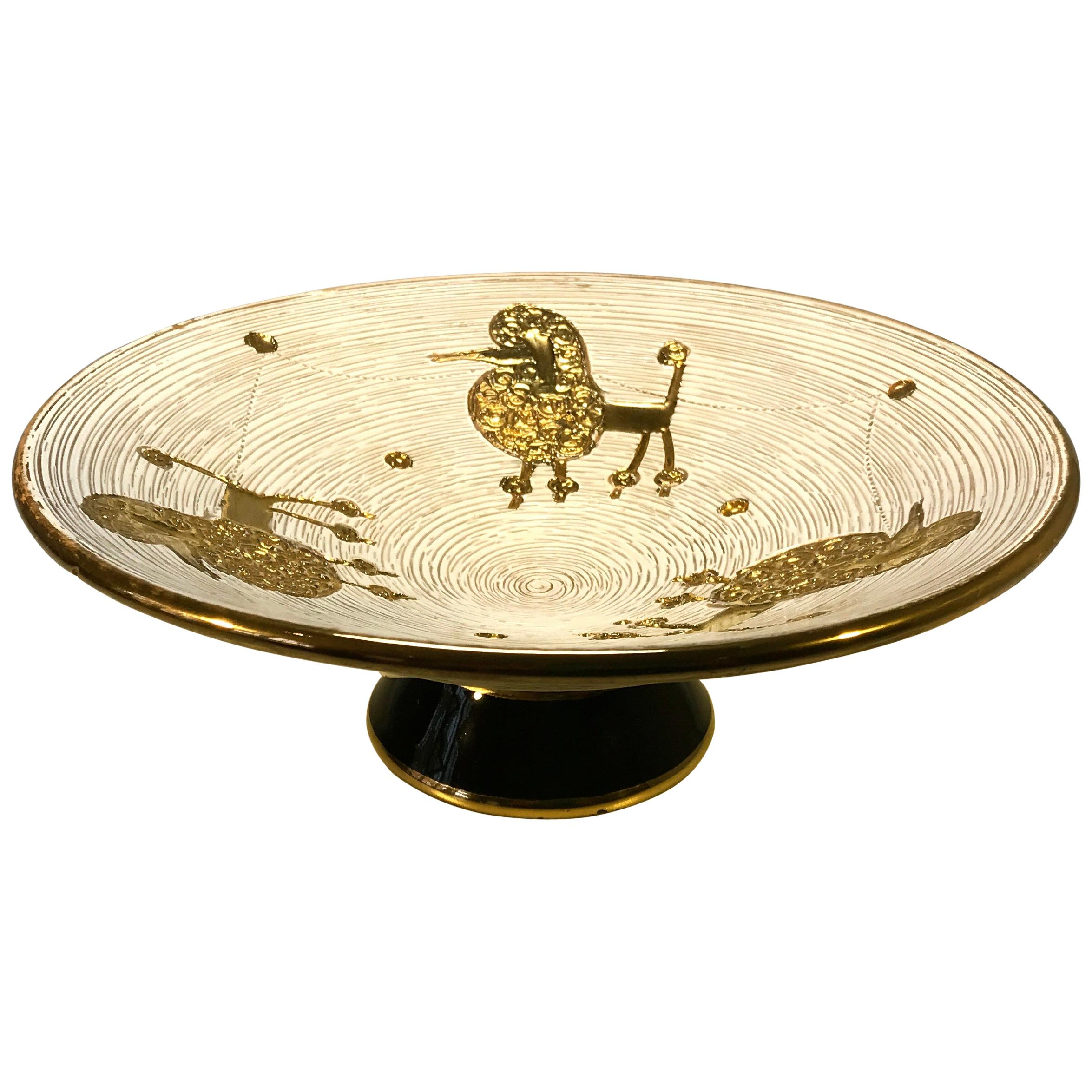 Kitsch Fratelli Fanciullacci Gilded French Poodle Footed Dish, 1950s