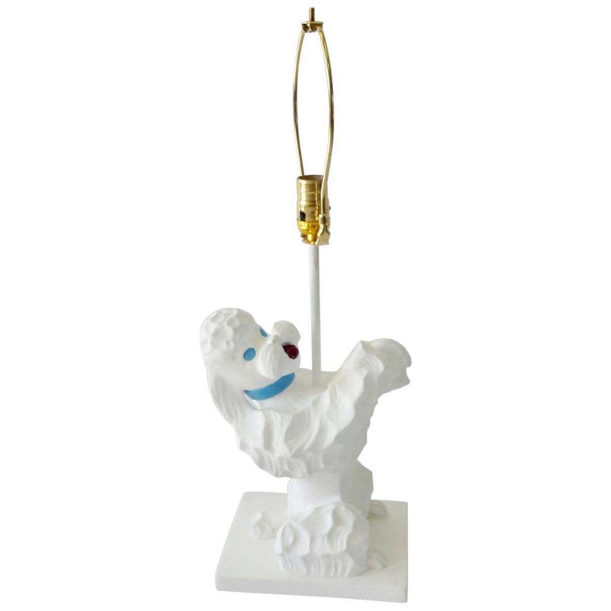 Kitsch Hollywood Regency Plaster Poodle Table Lamp