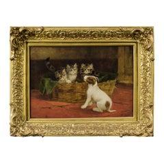 Kittens in Basket with Puppy title: friend or foe