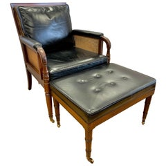 Kittiinger Black Leather Cane Chair with Ottoman