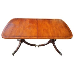 Kittinger Antique Duncan Phyfe Style Banded Mahogany Dining Table Claw Feet