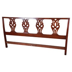 Kittinger Chippendale Carved Mahogany King Size Headboard
