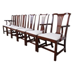 Kittinger Chippendale Style Mahogany Dining Chairs, Set of Six