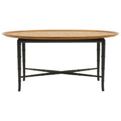 Kittinger Coffee Table with Faux Bamboo Legs Incised Design on Top