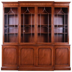 Kittinger Georgian Mahogany Breakfront Bookcase or Bar Cabinet