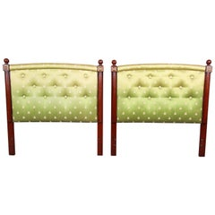 Kittinger Mahogany and Upholstered Twin Size Headboards, Pair