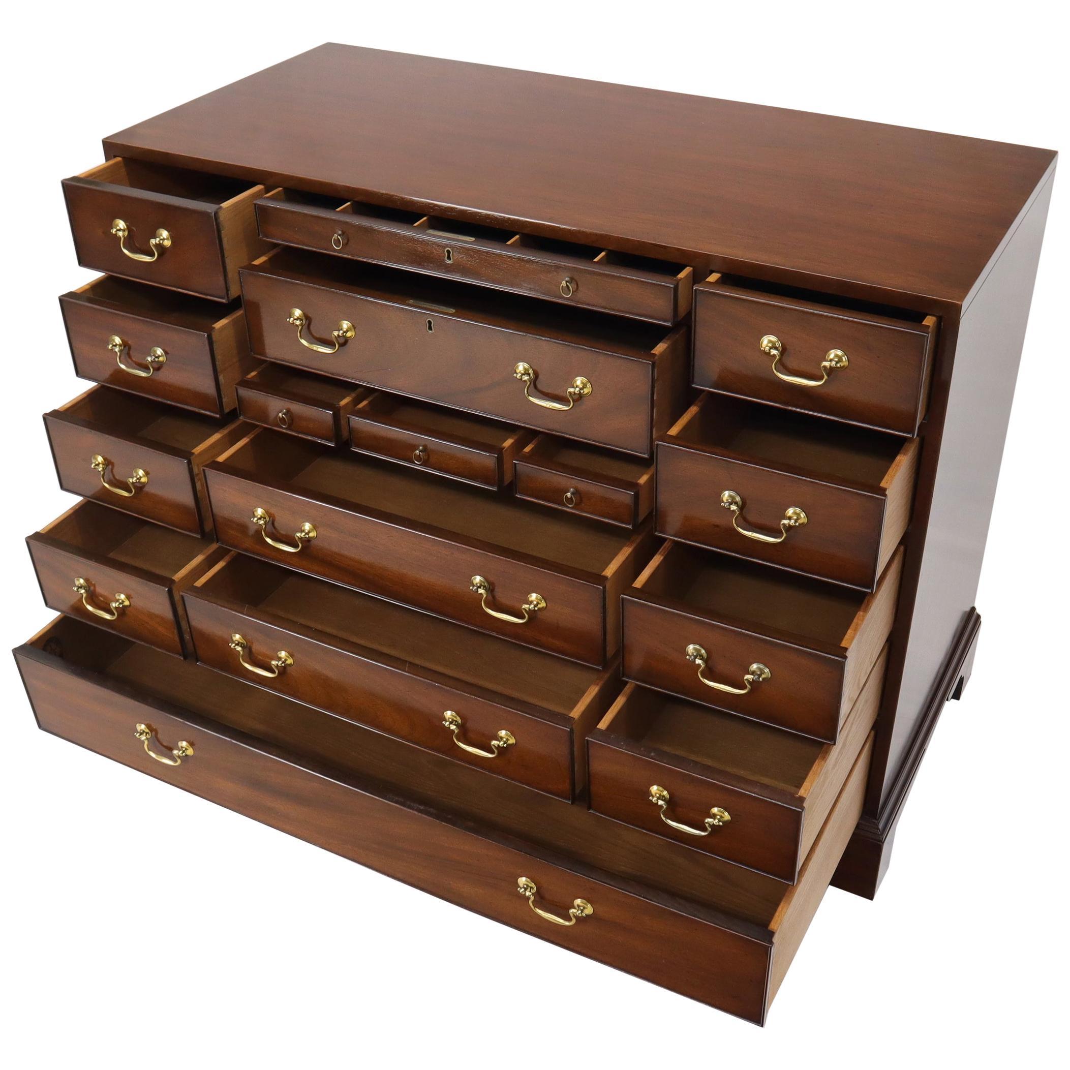 Kittinger Multi Drawer Mahogany and Brass Hardware Bachelor Chest Dresser Server