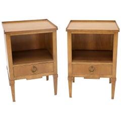 Kittinger Pair of Regency Style Nightstands End Tables One Drawer Light Walnut