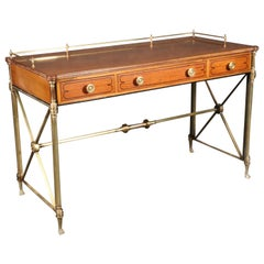 Kittinger Solid Brass and Satinwood French Directoire Writing Desk Table