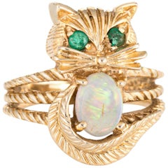 Kitty Cat Ring Opal Emerald Vintage 14 Karat Yellow Gold Fine Animal Jewelry
