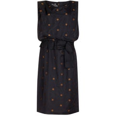Kitty Copeland 1950s Black Taffeta Silk Dress With Polkadot Detail