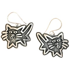 Kitty earrings, cast sterling silver Melanie Yazzie dangle cats contemporary