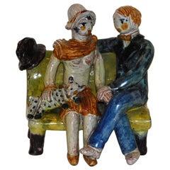 Kitty Rix Wiener Werkstatte Ceramic, 1927, Delightful Couple on a Bench