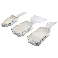 Kiva Cheese Set in Crystal, Pure Silver and Stainless Steel by Anna Rabinowitz