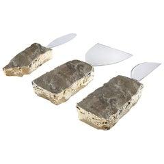 Kiva Cheese Set in Smoky Quartz and 24-Karat Gold by Anna Rabinowitz