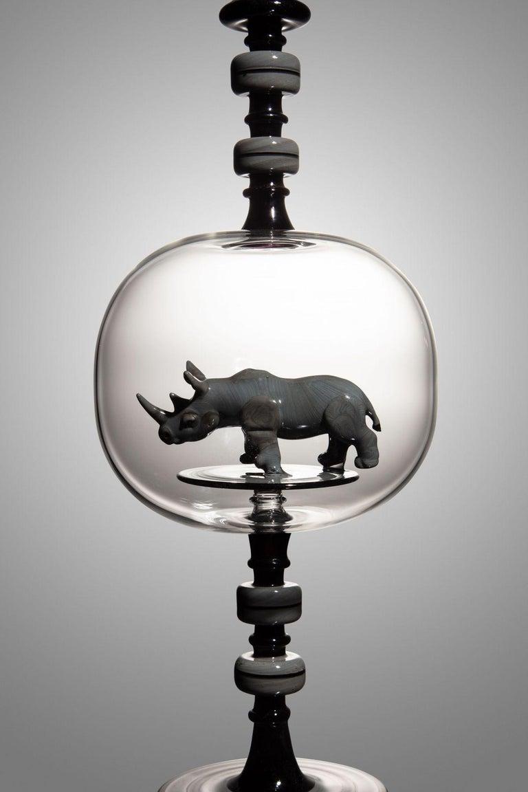 Rhinoceros Bottle - Sculpture by Kiva Ford