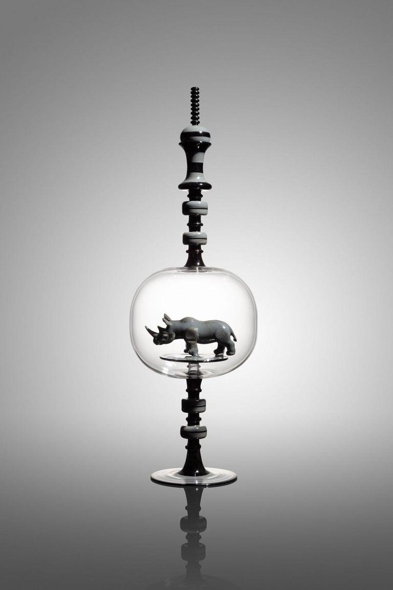 Kiva Ford Figurative Sculpture - Rhinoceros Bottle