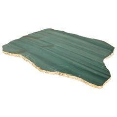 Kiva Large Platter in Emerald Quartz and 24-Karat Gold by ANNA New York