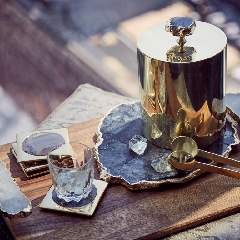 The Kiva Gemstone platters are all unique designs, crafted by mother nature, and imbued with secret powers including bringing clarity and calm to their owners. Each organic shape is framed in either 24k gold and designed to show off your culinary