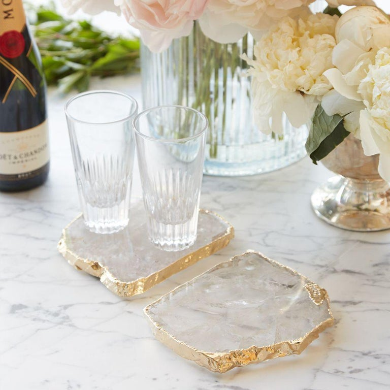 The Kivita Coasters are organic luxe for your favorite drink or bottle of wine. Oversized and dramatic, these jewels for your table are made from semi-precious gemstones, thought to bring calmness & peace to your home, and 24k gold or Pure Silver.