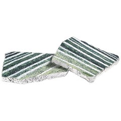 Kivita Coasters in Zebra Jade and 24 Karat Gold by Anna Rabinowitz