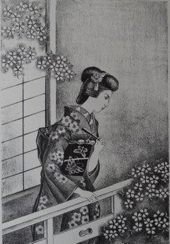 Japanese Woman with Fan - Stone lithograph, 1930 (Catalog Akio Uozu #522)