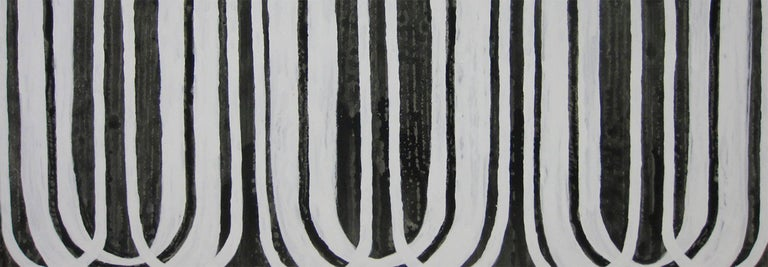 'Day by Day', Black and White Abstract minimalist Japanese painting - Painting by Kiyoshi Otsuka