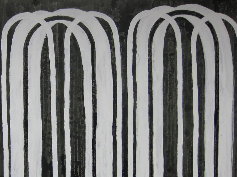 'Day by Day', Black and White Abstract minimalist Japanese painting - Contemporary Painting by Kiyoshi Otsuka