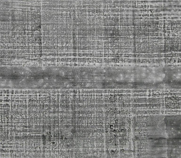 'Kenchiku (Architecture)', Black and White Abstract minimalist Japanese painting - Contemporary Painting by Kiyoshi Otsuka
