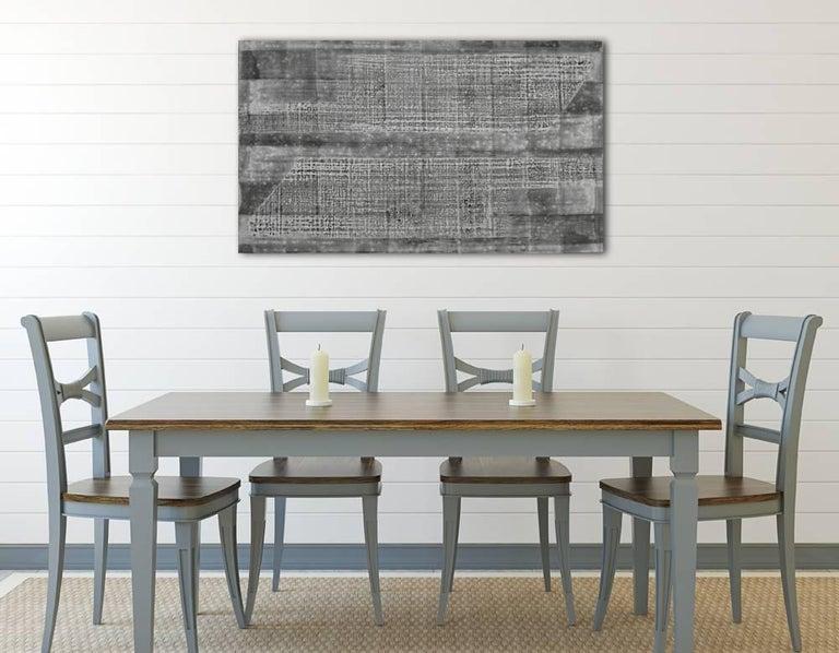 'Kenchiku (Architecture)', Black and White Abstract minimalist Japanese painting - Gray Abstract Painting by Kiyoshi Otsuka