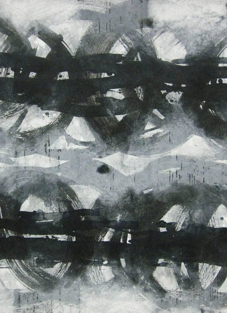 Locomotion 2 black and white abstract minimalist japanese painting contemporary painting by