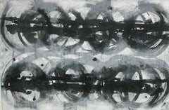 'Locomotion 2', Black and White Abstract minimalist Japanese painting
