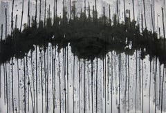'Nagare Boshi III', Black and White Abstract minimalist Japanese painting