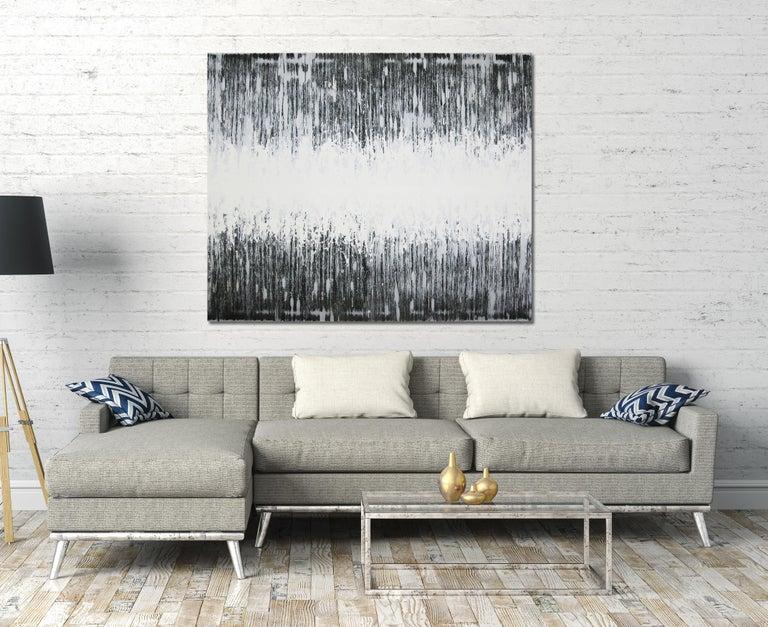 'Nami No Oto (Sound Wave)' black and white abstract minimalist Japanese painting - Painting by Kiyoshi Otsuka