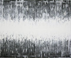 'Nami No Oto (Sound Wave)' black and white abstract minimalist Japanese painting