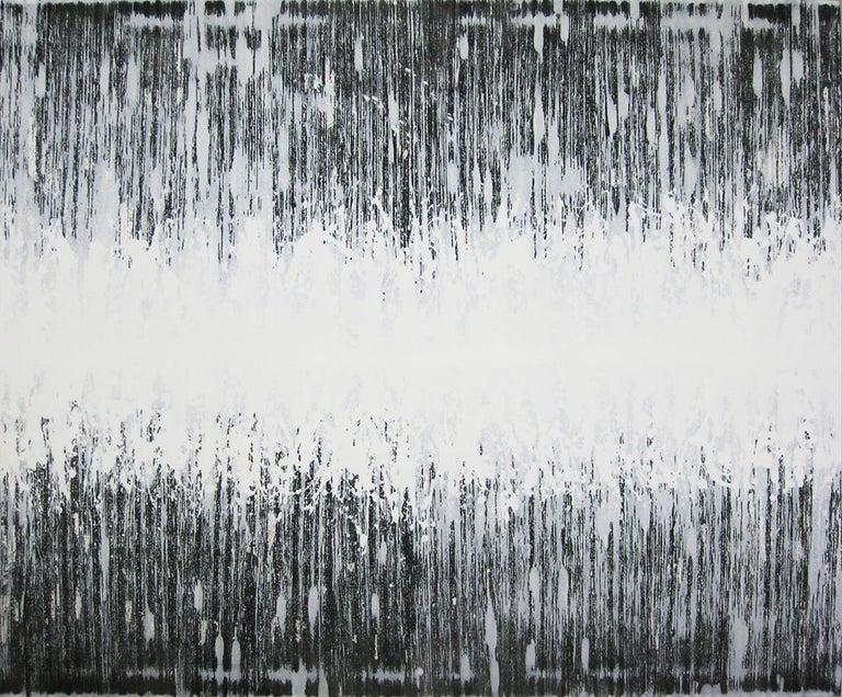 Kiyoshi Otsuka Abstract Painting - 'Nami No Oto (Sound Wave)' black and white abstract minimalist Japanese painting